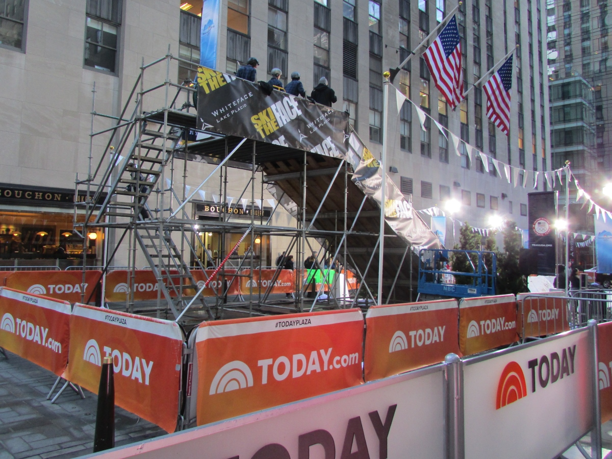 Ski ramp scaffold for event at Today Show