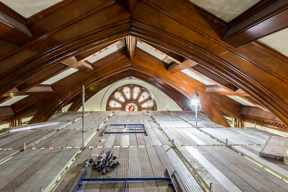 Scaffolding to reach ceiling or peak of church sanctuary