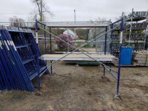 masonry scaffolding setup, mason frames or step frames